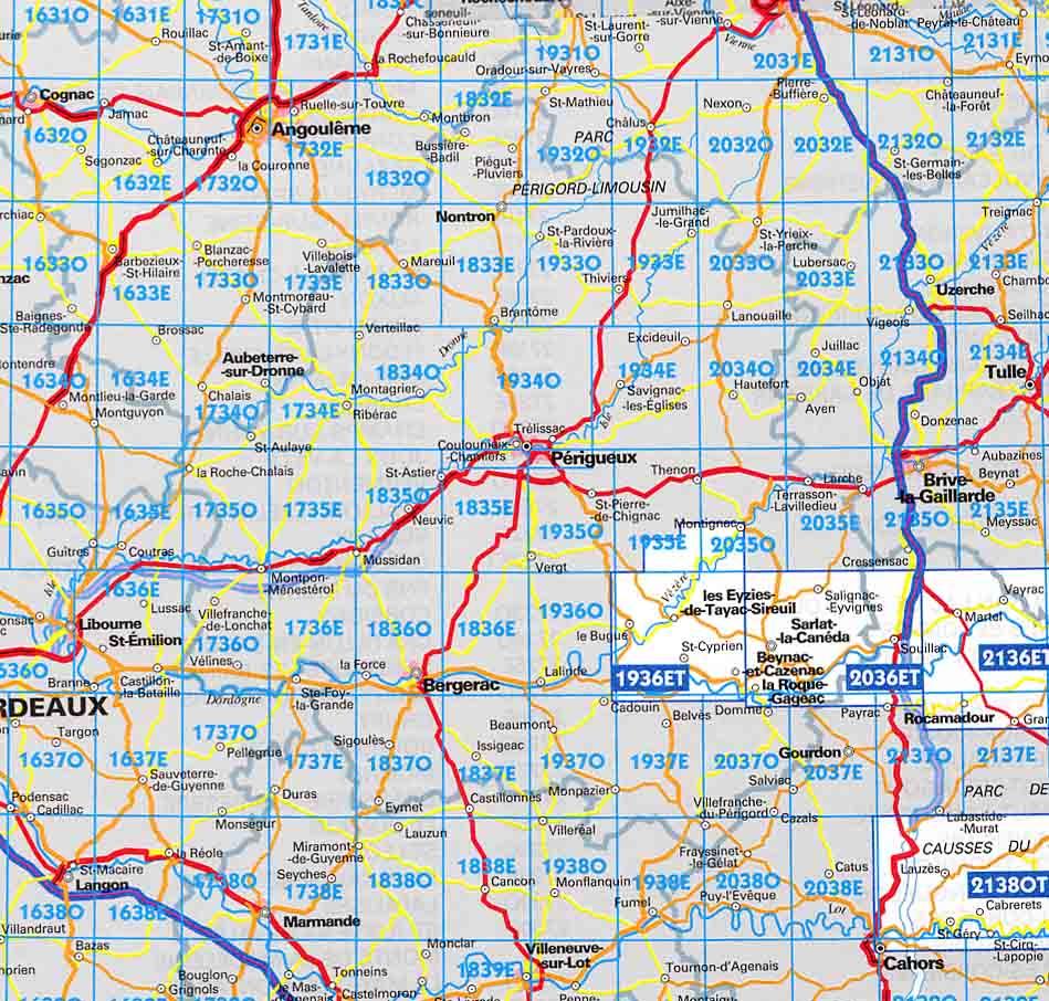 carte de la dordogne détaillée Carte Dordogne, carte routière Dordogne, carte cd rom & dvd Dordogne